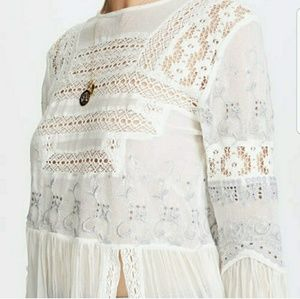 Free People Tops - Free People White Lace Long Sleeve Maxi Tunic Top